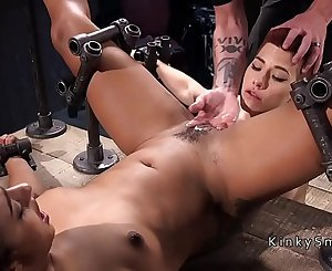 Lesbian sub made to lick squirting pussy