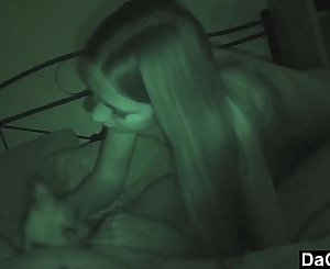 He gets a blowjob by her stepsister while her girlfriend sleeps