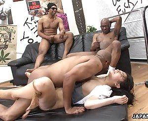 Three black guys destroy the Asian sluts pussy