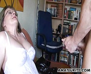 Busty mature amateur Mummy sucks and fucks