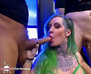 Busty Tattooed babe Phoenix Madina Swallows lots of Sperm
