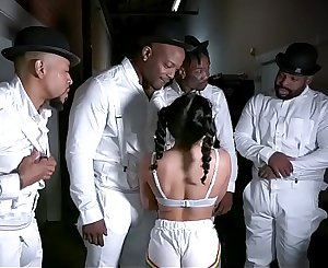 Petite Hottie Liv Revamped Fucked By Four Black Dudes