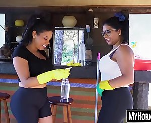 Phat ass Latina maids getting their cunts smashed in nature