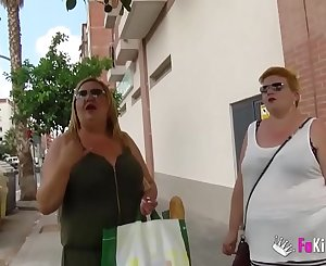 The Spanish Mommies also want to do porn. BBW Blonde Mature Threesome