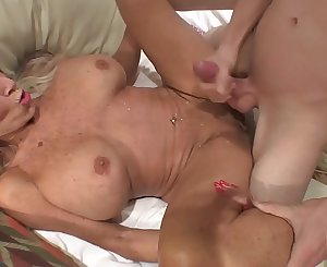 young man slams his young cock to mature MILF  Sally D'angelo
