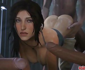Round ass and big tits Lara Croft fucked raw
